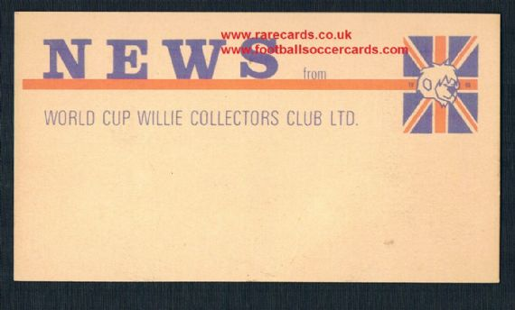 1965 FA WC66 World Cup 1966 Willie Collectors Club 3 Lions Alf Ramsey card